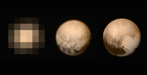 Images of Pluto taken by New Horizons on May 29 (54 million miles away), July 1 (9 million miles away), and July 7 (5 million miles away).