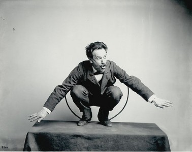 """Father of American anthropology Franz Boas posing for Franz Boas a US National Museum exhibit entitled """"Hamats'a coming out of a secret room,"""" 1895. Image: National Anthropology Archives"""
