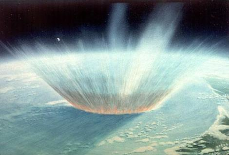 An artist's take on what the initial impact that killed the dinosaurs may have looked like from space. The object hit right on the Yucatan Peninsula, and it left a crater about 200 km wide. Image credit: NASA Blueshift.