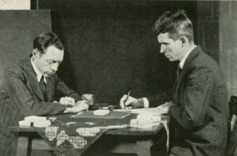 J.B. Rhine (right) conducting an experiment with Zener cards. He was unable to prove the existence of Jedi. Via Wikipedia.