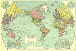 Americentric map of the world. Flickr Creative Commons image.